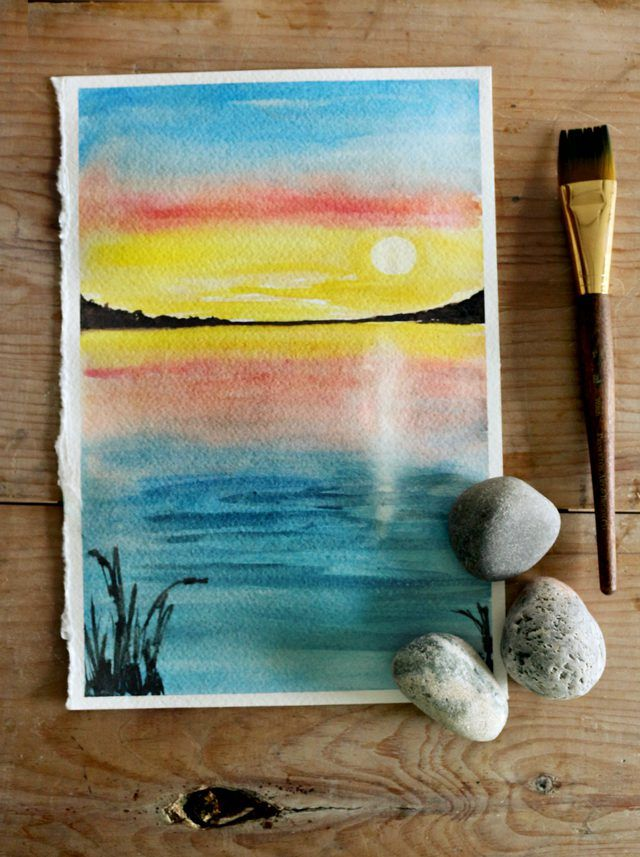 How To Paint A Sunset With Watercolors Watercolor Sunset