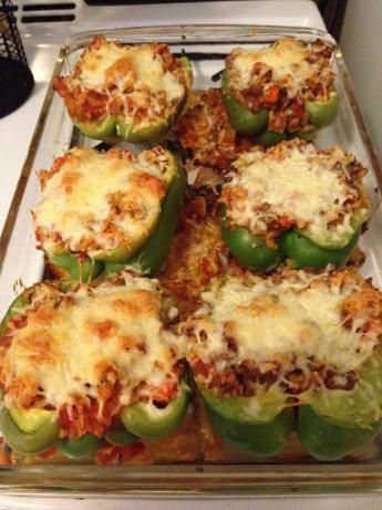 Vegetarian Stuffed Bell Peppers- I do my own less complicated version of this and substitute the cheese for shredded Parmesan (lactose intolerant folks can usually handle hard cheeses)