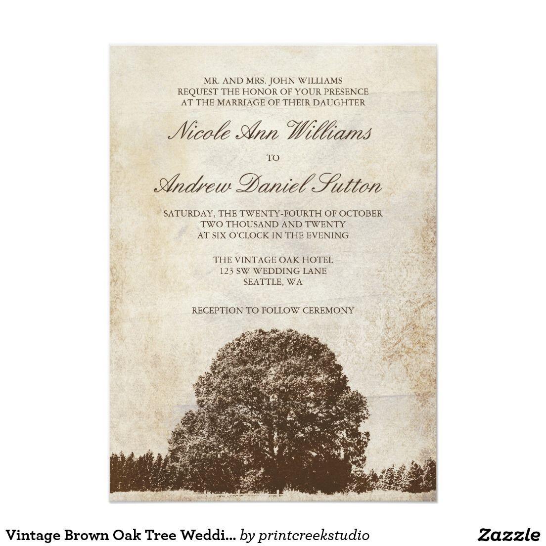 Vintage Brown Oak Tree Wedding Invitations | Pinterest | Bridal ...