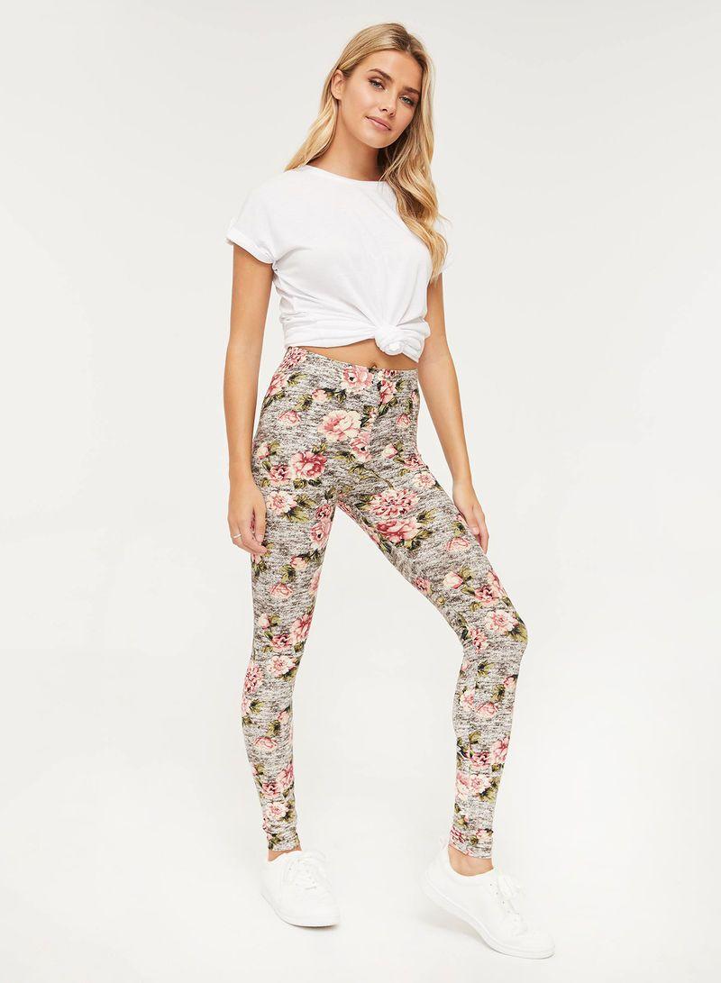 تسوق أرديني وflower Printed Mid Rise Leggings رمادي الوردي الأخضر أونلاين في السعودية In 2021 Mid Rise Leggings Fashion Legging