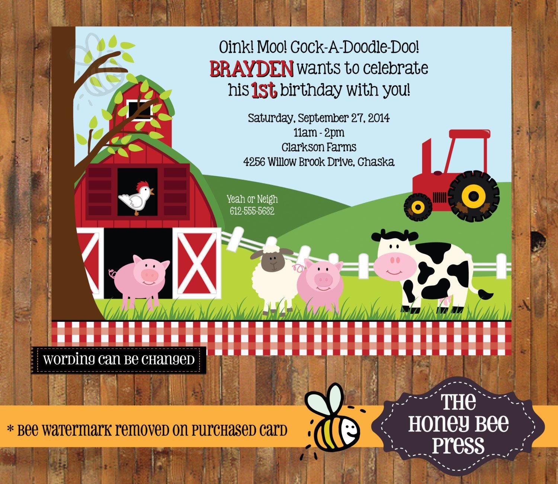 farm animal birthday invitation