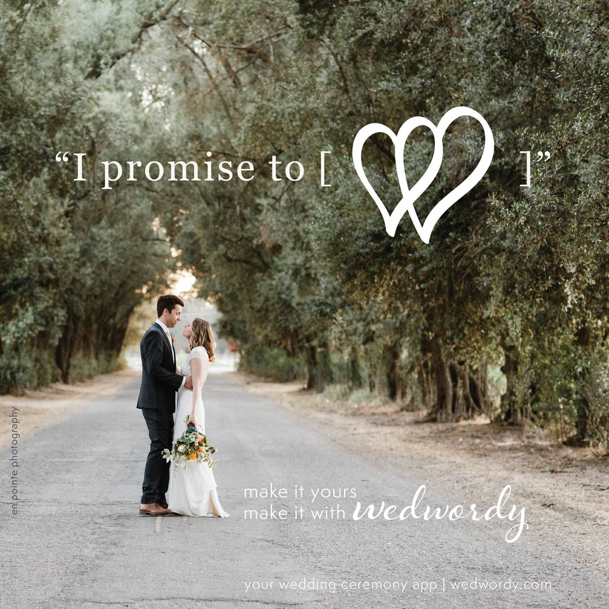 Write your own Personal Vows with Wedwordy.
