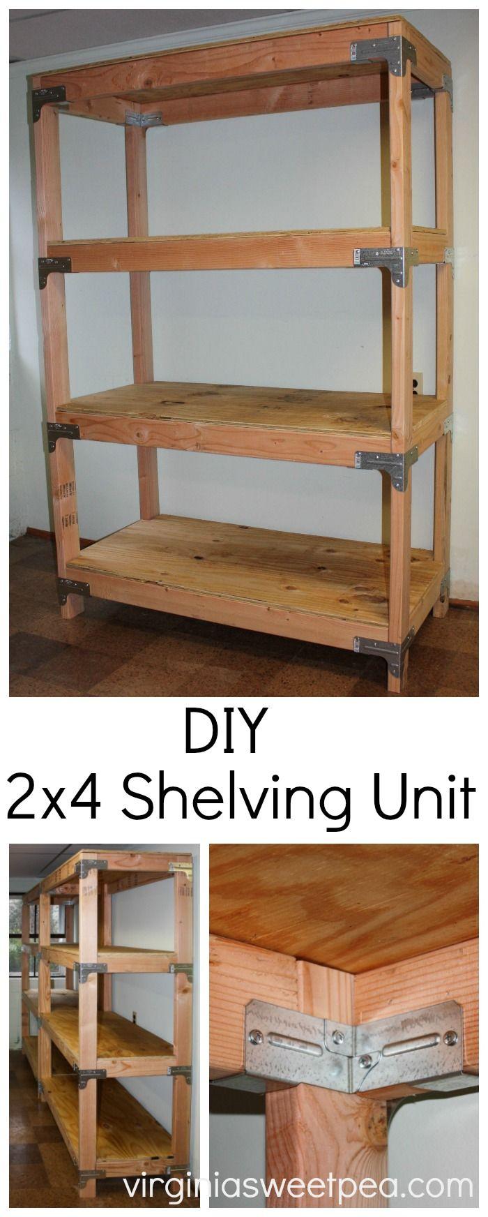 DIY 2x4 Shelving Unit Home remodeling diy, Wood shelving