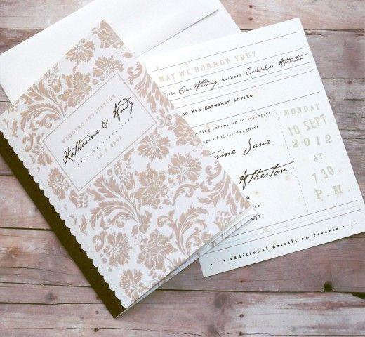 Traditional Engraved Wedding Invitations: Storybook Wedding Invitation, Fairytale, Library Card RSVP