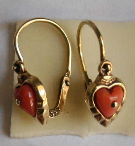 Antique Victorian 9K Y Gold Salmon Coral Small Heart Nice Child Earrings C 1900 | eBay