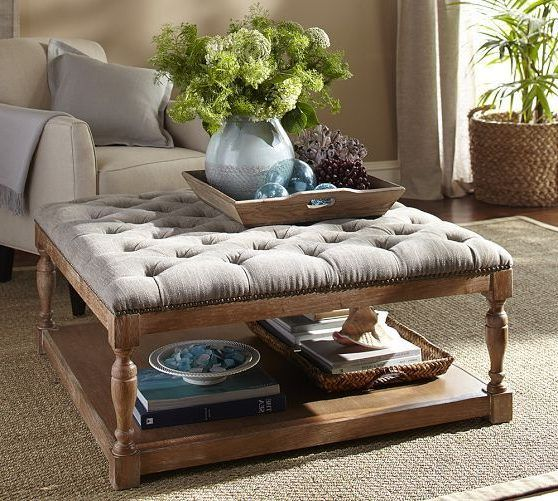 fascinating tufted fabric ottoman coffee table the top. Black Bedroom Furniture Sets. Home Design Ideas