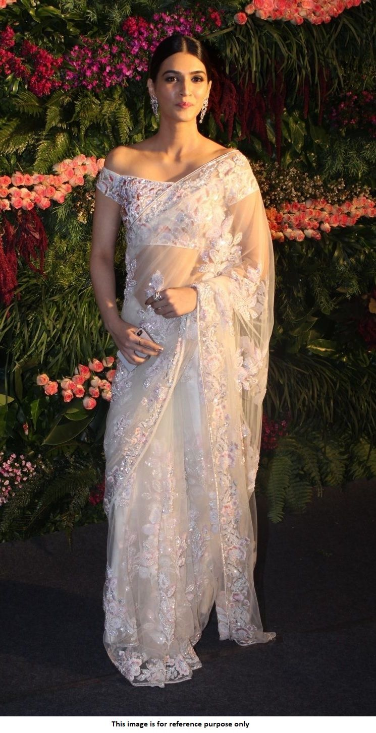 Buy Bollywood Kriti Sanon White Virushka Wedding Reception Net