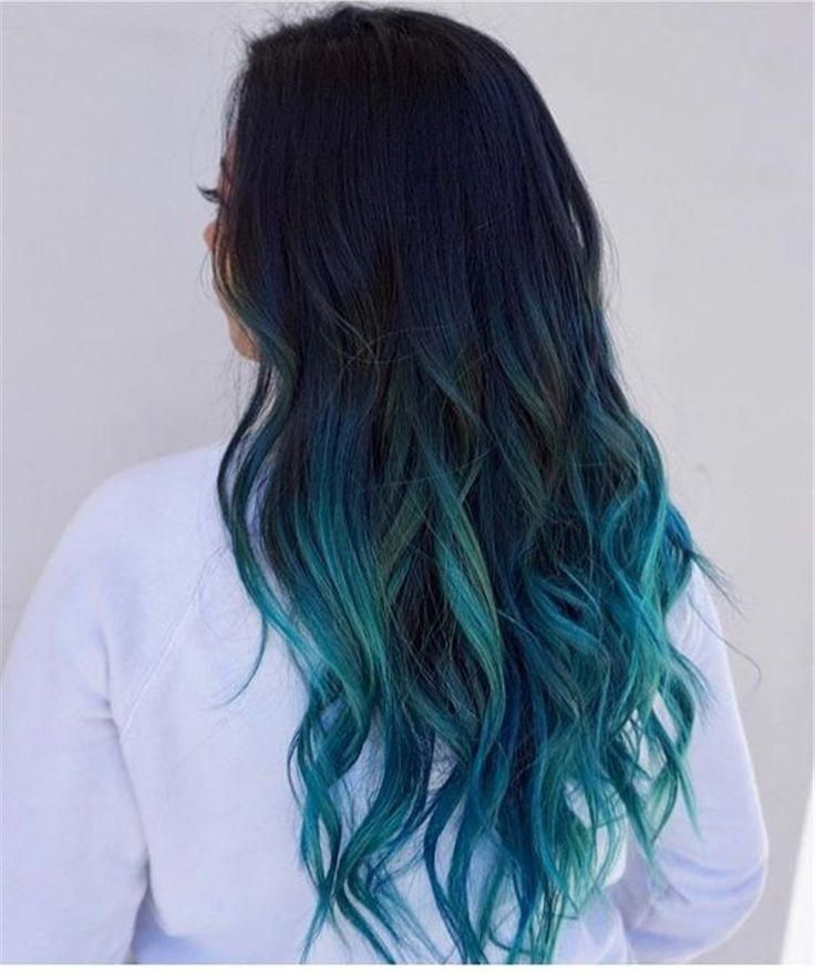 blue ombre hair color trend in 2019; trendy hairstyles and colors 2019; blue ombre hair; #haircolor #blueombrehair #ombrehair