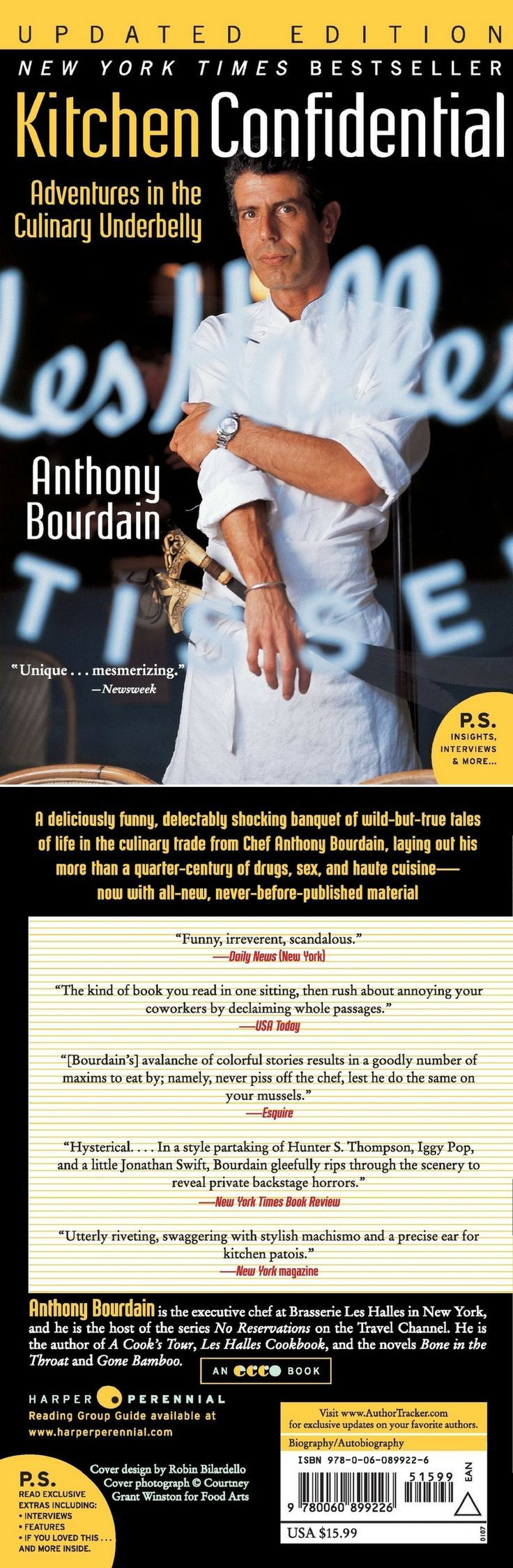 New York Times Bestseller Kitchen Confidential Updated Edition Adventures In The Culinary Underbelly P S B Kitchen Confidential Adventure Anthony Bourdain