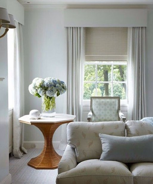 Bunny williams beehive table fifty shades of grey curtains window treatments blinds for Grey bedroom window treatments