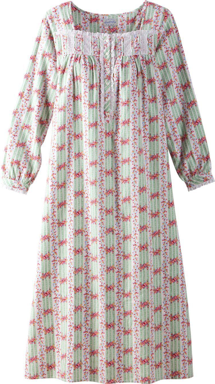 48d03d02f5 Lanz Of Salzburg Cottage Rose Flannel Nightgown  Soft