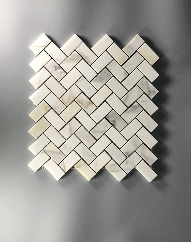 Premium Calacutta Gold Marble Tile 1x2 Herringbone Mosaic 12x12
