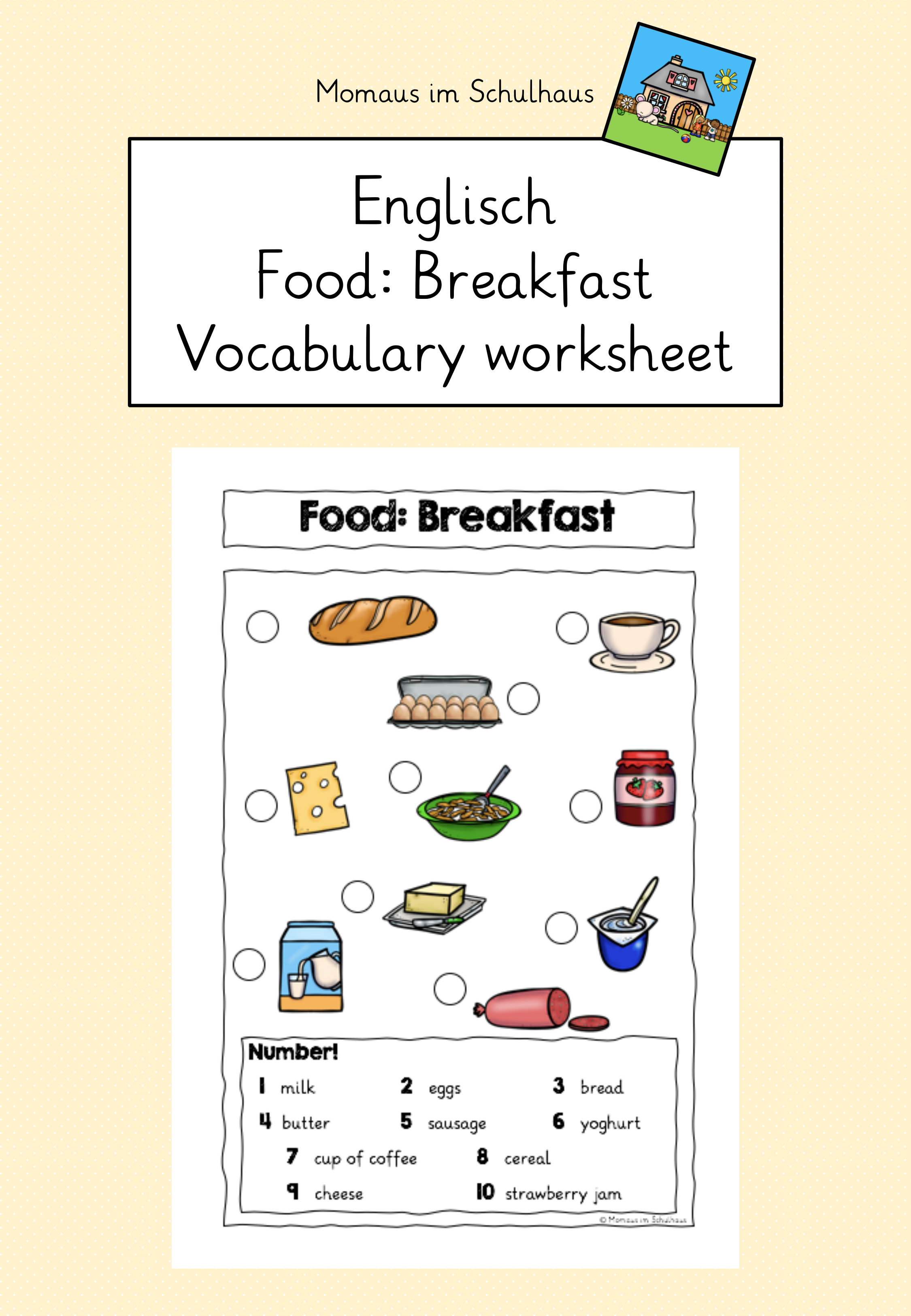 Food Breakfast Worksheet Fruhstuck Wortschatz
