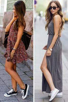Vestidos Con Zapatillas A Ideas Ca Modas Y Muy Chic Vestidos Con Converse Outfit Vestidos Con Tenis Vestidos Con Tenis
