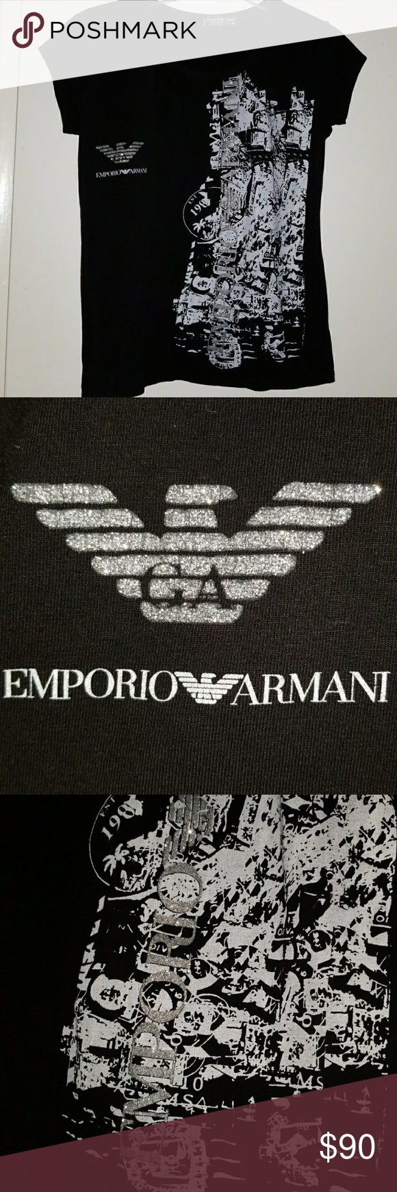 Emporio Armani Black Tee Form fitting, stretchy material, perfect condition Emporio Armani Tops Tees - Short Sleeve
