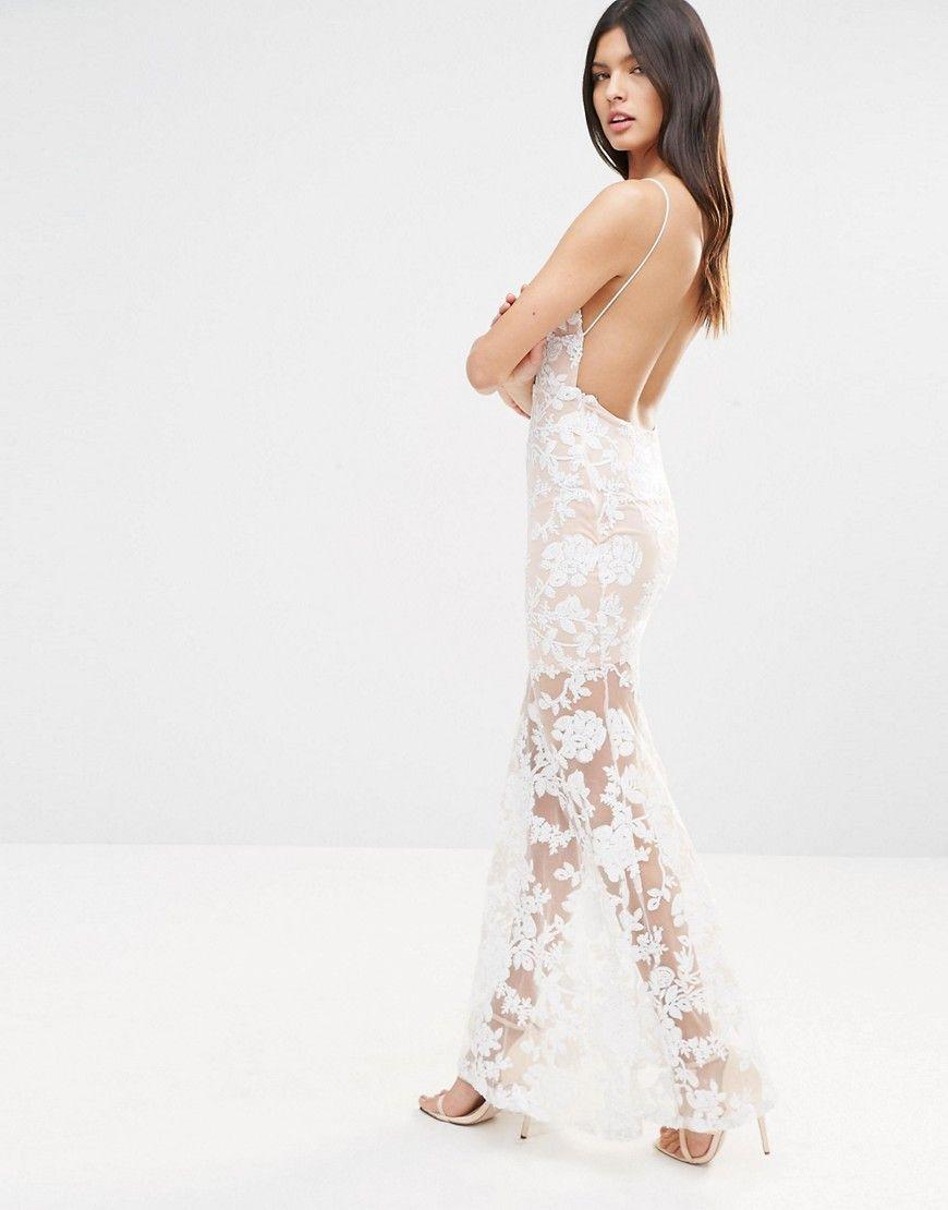 92032810 Club L Cami Strap Floral Sequin Fishtail Backless Maxi Dress - Cream ...