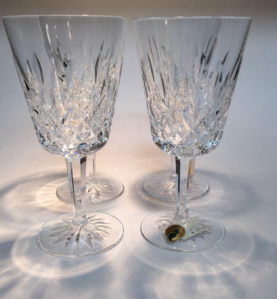 Set Of 4 Waterford Lismore Water Goblet Glasses Elegant Crystal 2 Available Waterford Vintage Stemware Stemware Waterford Lismore