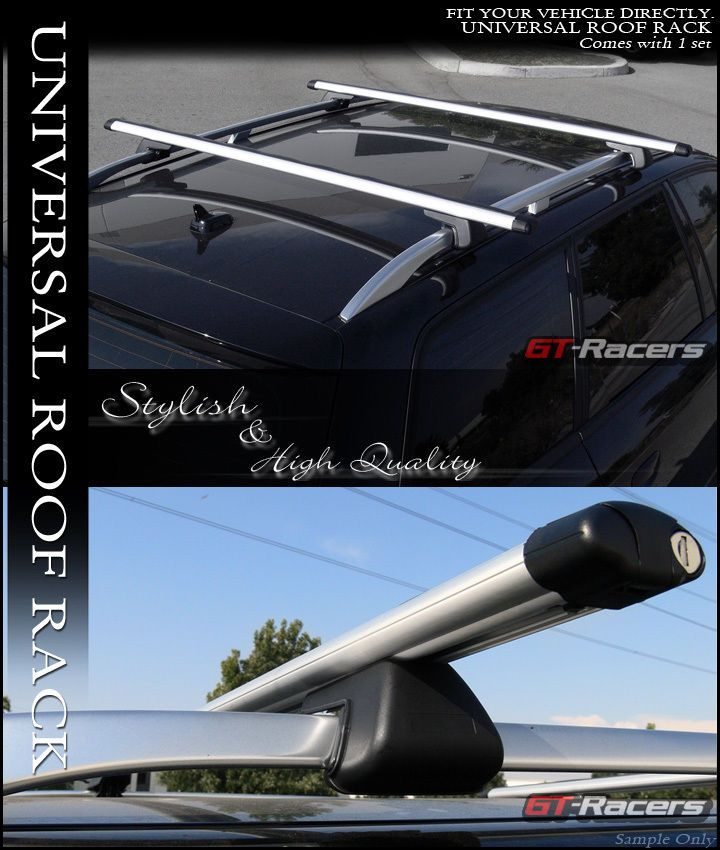 "Universal 50/"" Blk Oval Roof Top Rail Rack Tube Cross Bars Cargo Carrier+Lock G1"