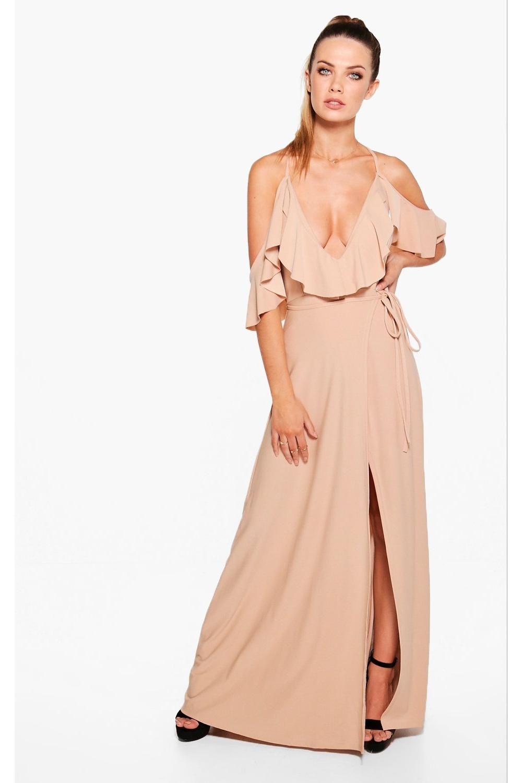 Lyla frill detail drop shoulder wrap tie maxi dress