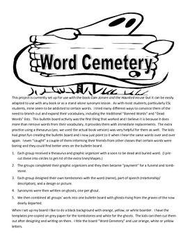 Word Cemetery Synonym Bulletin Board Words Teaching Homeschool Dead Words
