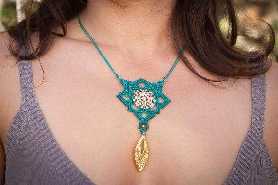 Macrame necklace ethnic pendant Macrame by MacrameLoveJewelry