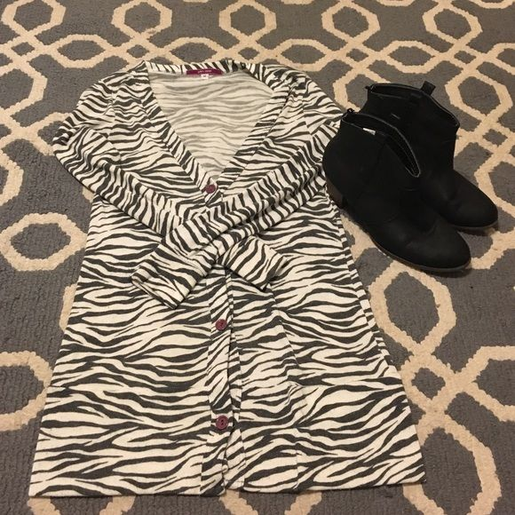 Long zebra print sweater Zebra print sweater, size medium. Julie's Closet Sweaters Cardigans
