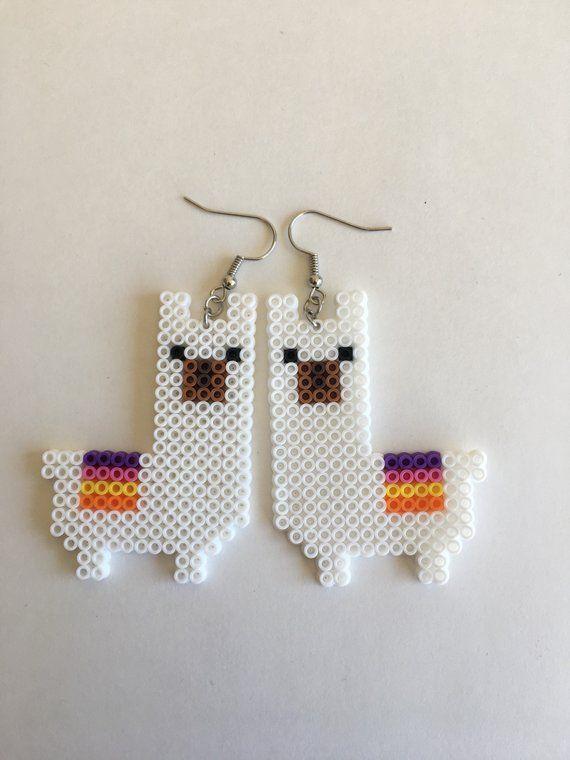 Llama earrings Jewelry. Handmade. Mini perler beads/pixel ...