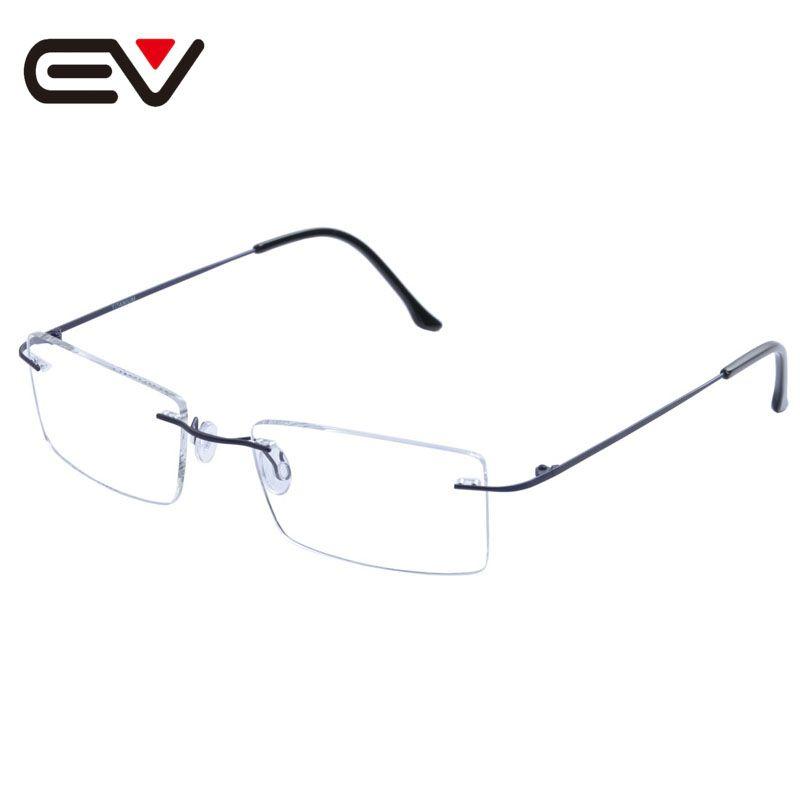 Fashion Man Women Rimless Titanium Glasses Frames Clear Lens Optical ...