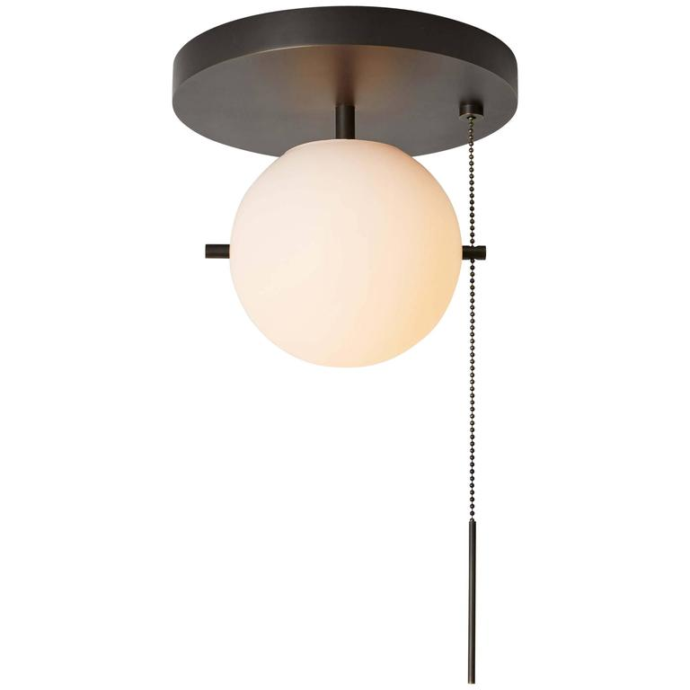 Ceiling Mount Light With Pull Chain Fascinating Workstead Signal Flush Mount In Bronze With Blown Glass Globe And Design Ideas