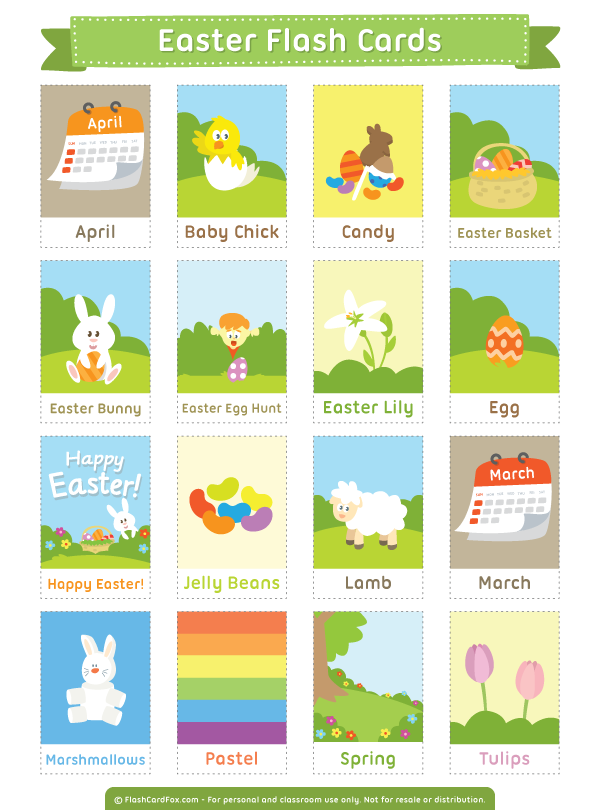 Free Printable Easter Flash Cards Download Them In Pdf Format At Http Flashcardfox Com Download E Flashcards Preschool Flash Cards Learning English For Kids