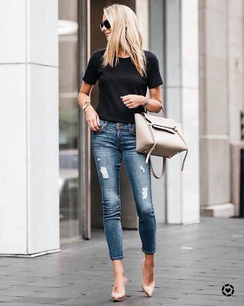 dd0dff71c58 t-shirt tumblr black t-shirt denim jeans blue jeans ripped jeans pumps  pointed toe pumps high heel pumps bag nude bag shoes