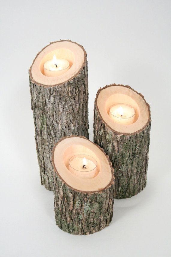 Tree Branch Candle Holders Iv Rustic Wood Slice Wooden