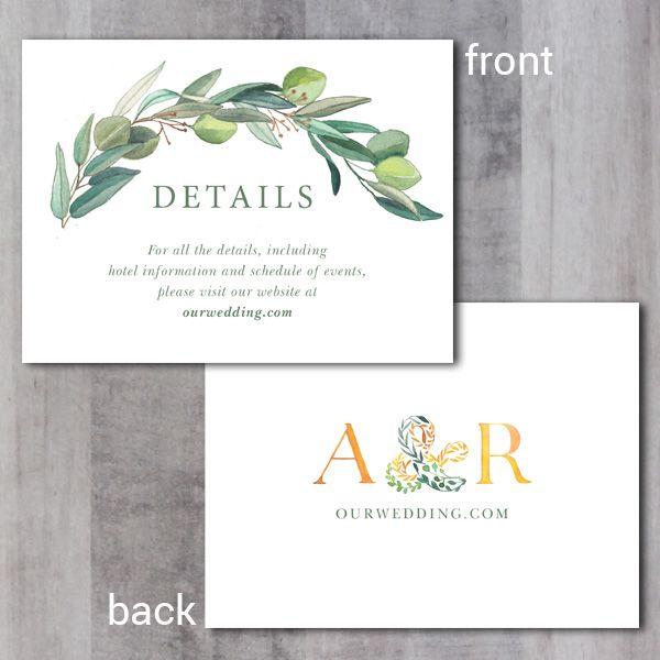 Leafy Wreath Monogram Enclosure Card