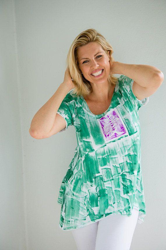 589f8ba47d Plus Size Hand Painted Woman Fashion Workout Top Maternity Tunic Kauai Hawaii  Resort Wear