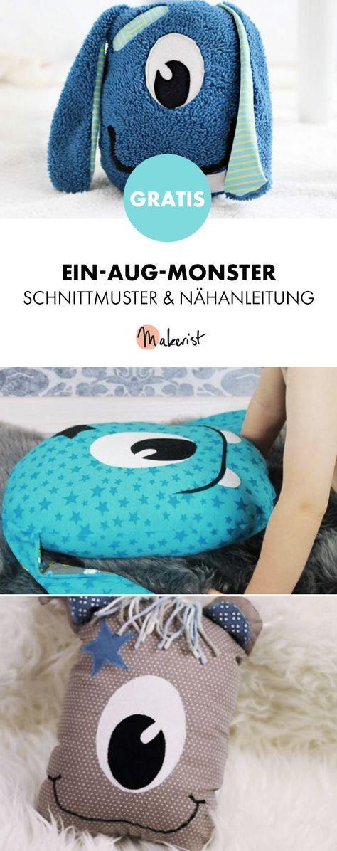 Gratis Anleitung: Kuscheltier oder Kissen Ein-Aug-Monster ...
