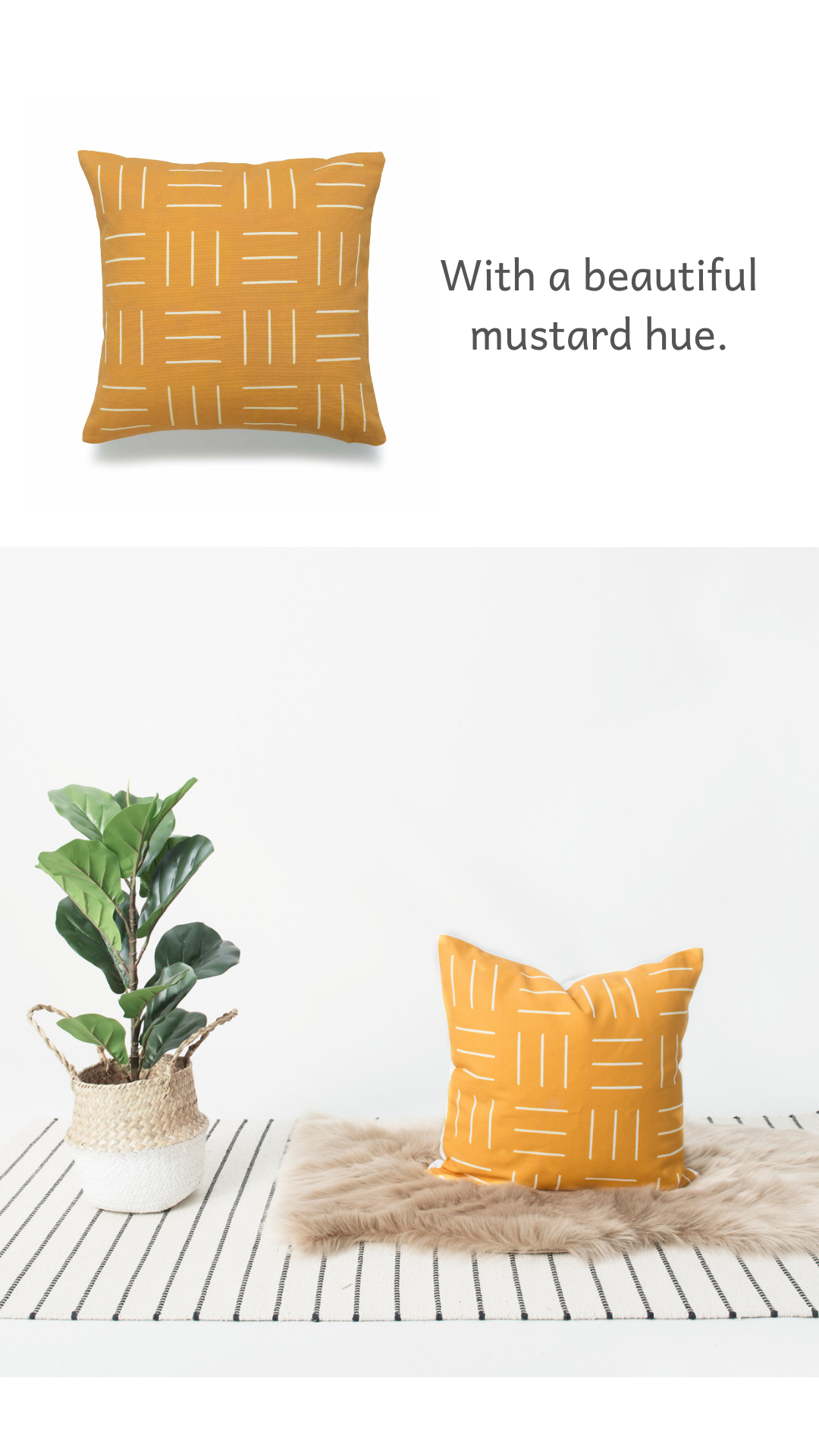 Hofdeco African Mud Cloth Pillow - Mustard