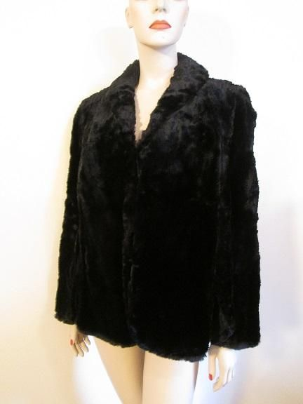 The Vintage Village - View Classified - Black Faux Fur Stole Vintage 1940s Cape Estate Womens Coat Old
