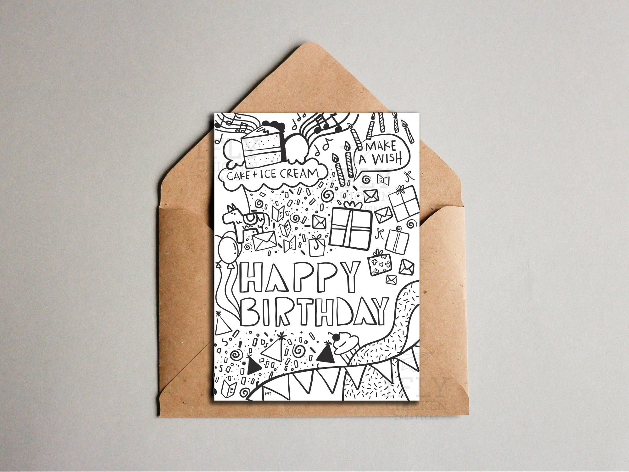 Printable Birthday Card Cool Doodle Drawing Birthday Etsy Birthday Card Printable Cool Doodles Birthday Card Drawing