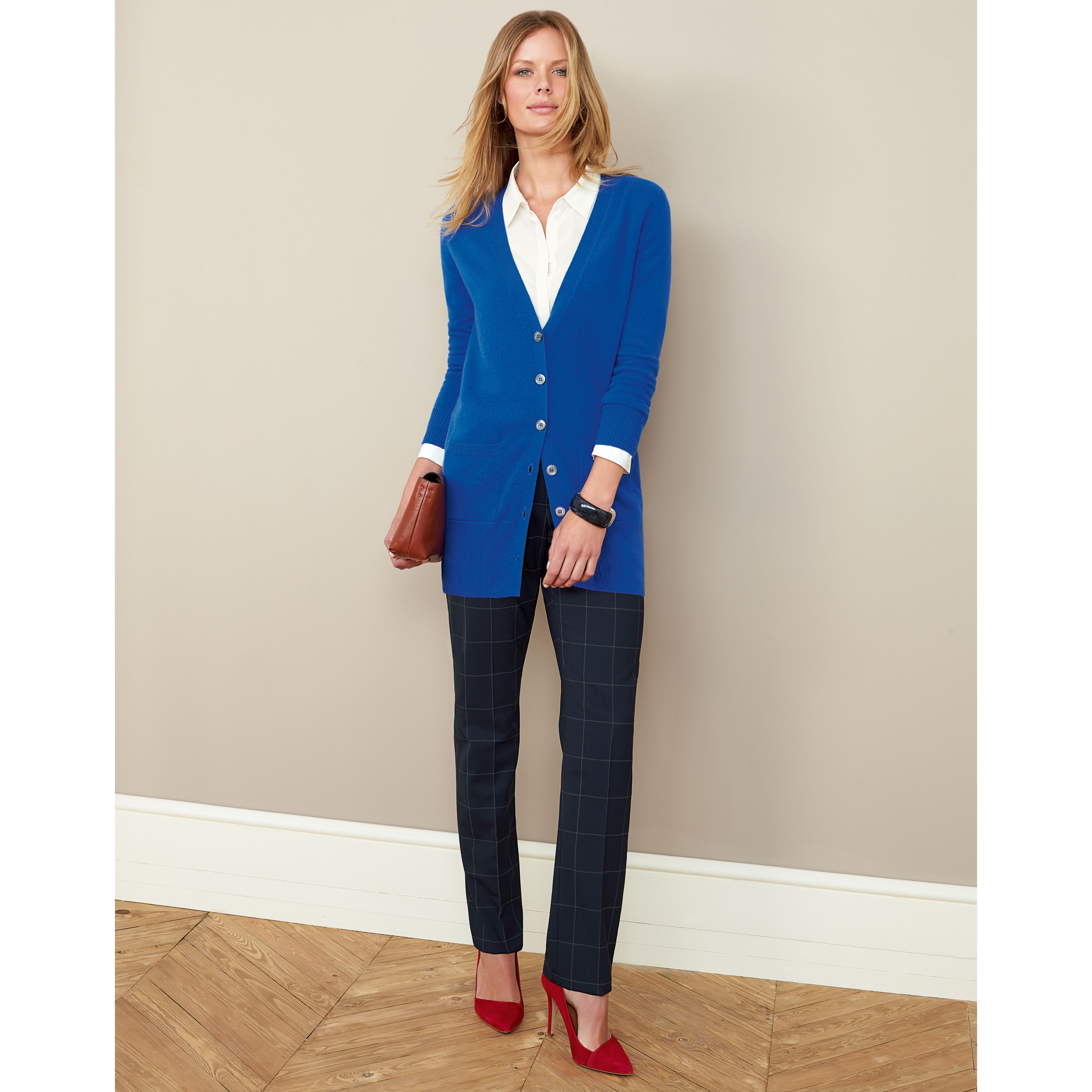 Royal Blue cardigan, white shirt, black window pane pants and red ...
