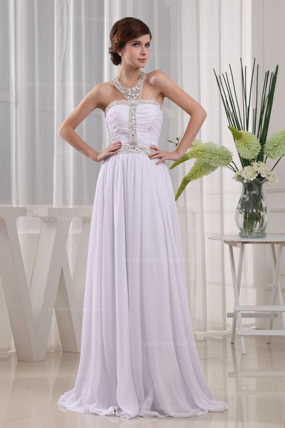 Lace wedding dress halter  Beaded Halter Neck With Natiral Waist Chiffon Beach Wedding Dress