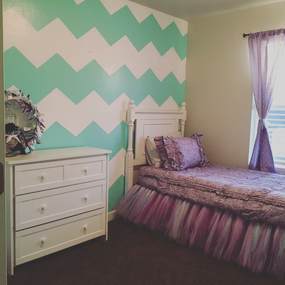 Teal Aqua And Purple Little Girls Room. Toddler Girl
