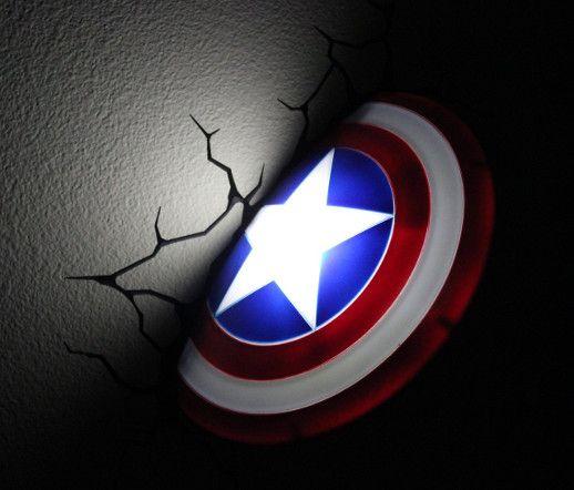 3D Deco Wall LED Night Light Marvel Avengers Captain America Shield Nightlight