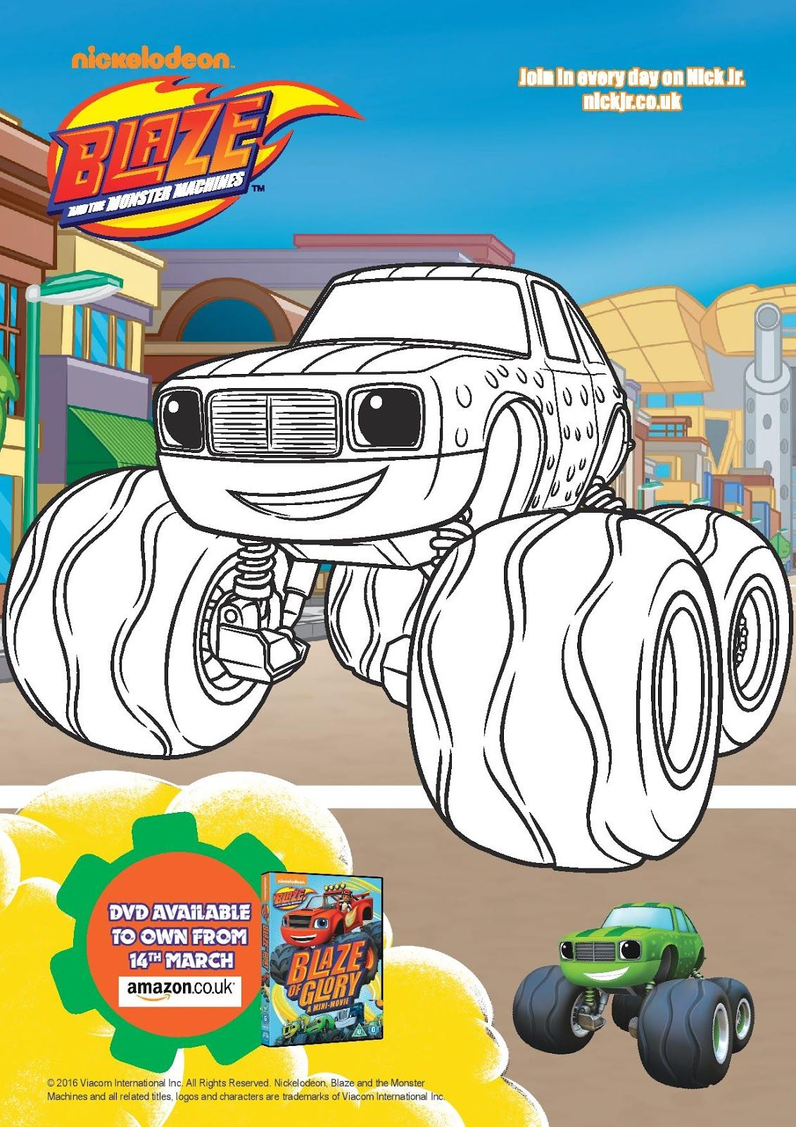 This is a picture of Comprehensive Blaze and the Monster Machines Printable Coloring Pages