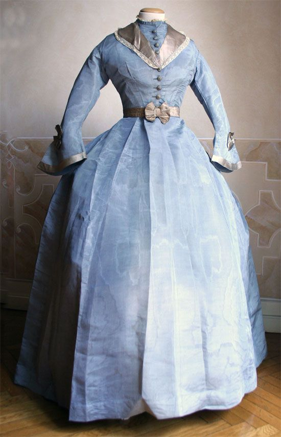Three-Piece Dress: ca. 1869, Italian, bodice skirt and small tablier in watered silk.