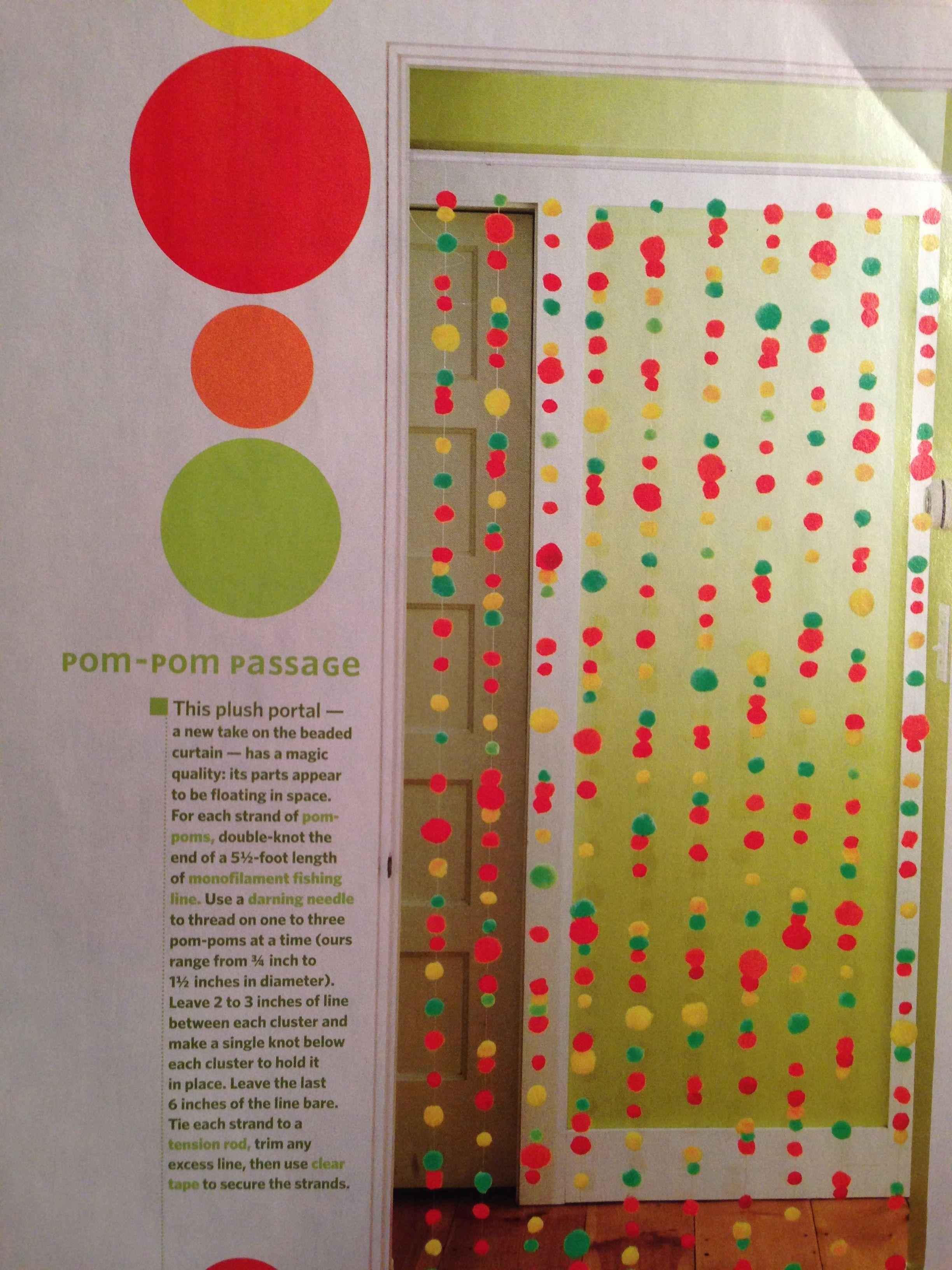 Pom pom doorway decorations