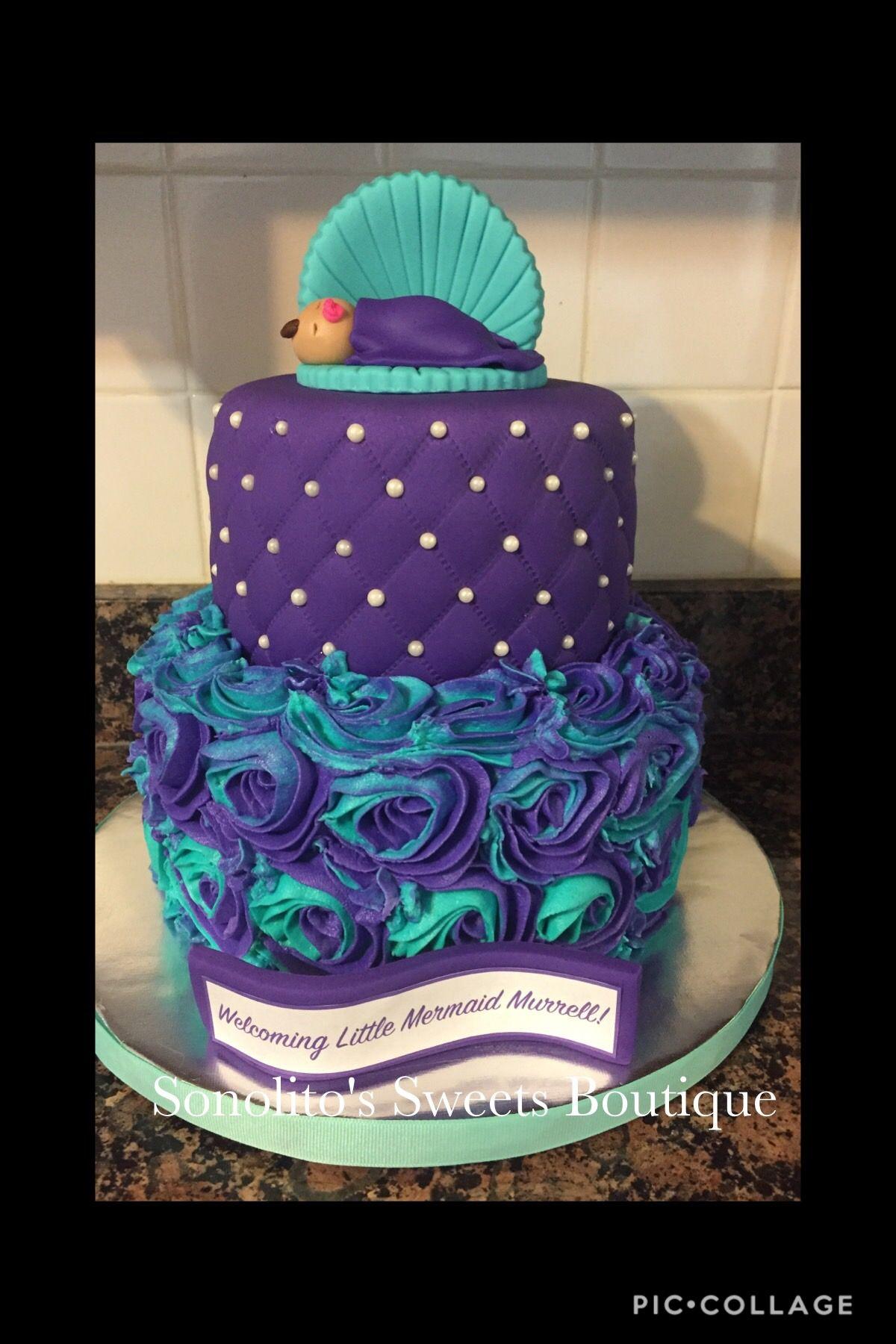 Mermaid Cake, Purple And Turquoise Cake, Baby Shower Cake