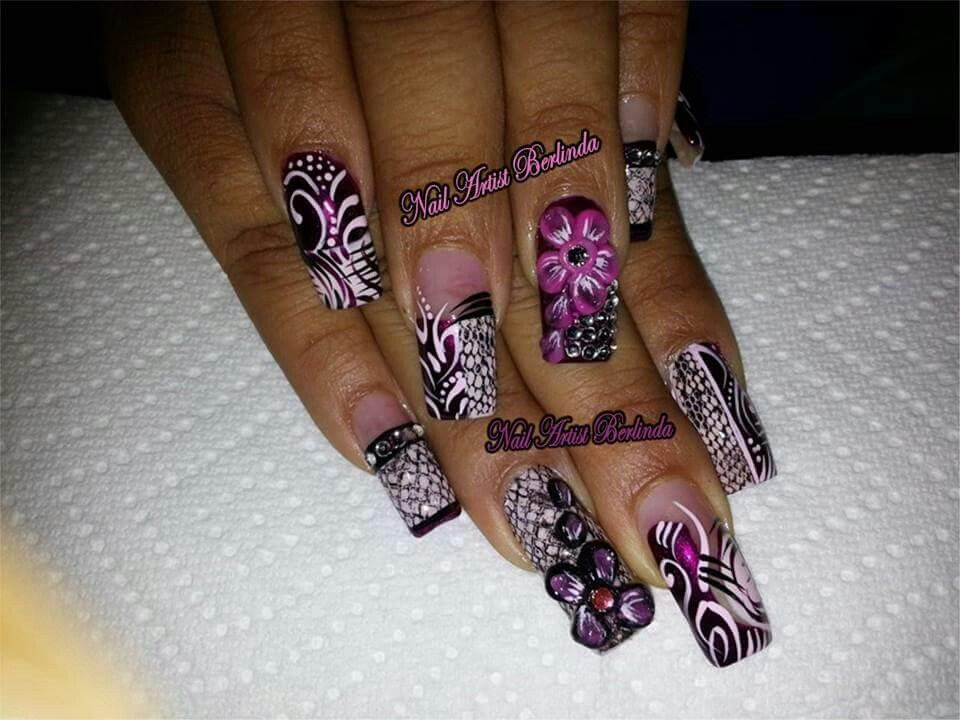 Nails designed by Nail Artist Berlinda...3-D flowers and Snakeskin ...