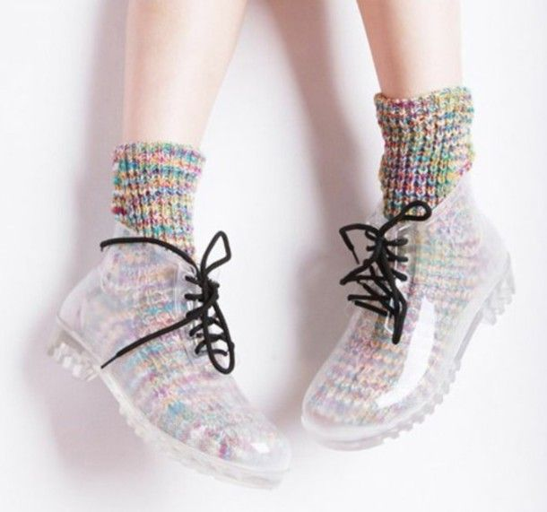 shoes boots juju transparent shoes ankle boots plastic boots wellies