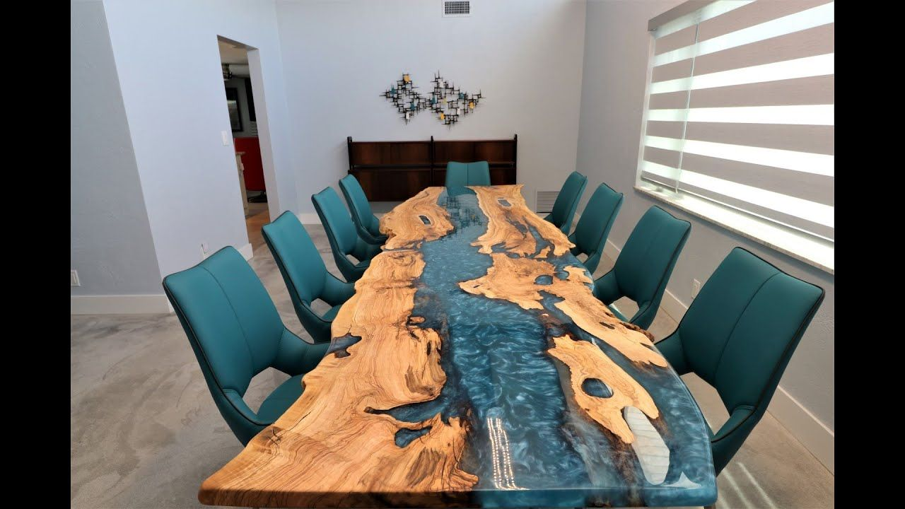 Ocean Epoxy Resin And Olive Wood Dining Table By Odywood Wood