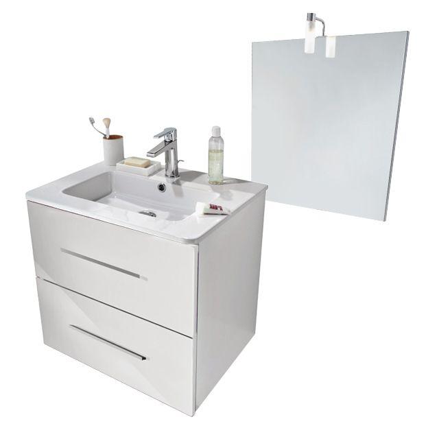 meuble de salle de bains volga 60 cm blanc matière du caisson